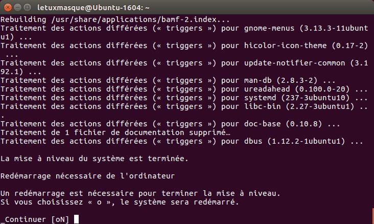 do-release-upgrade - redémarrage fin