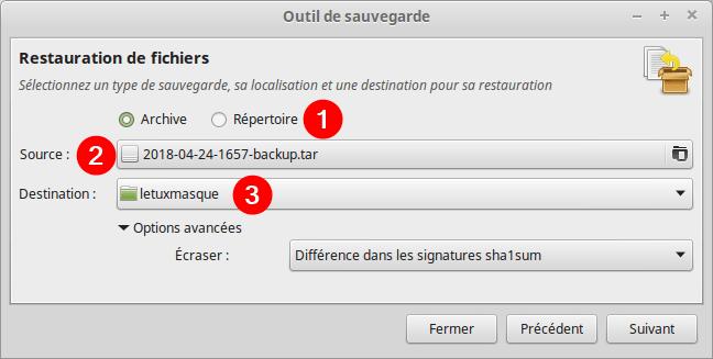Mintbackup - restauration de fichiers 1