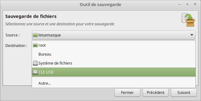 Mintbackup - sauvegarde de fichiers 3 - destination