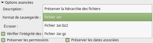 Mintbackup - sauvegarde de fichiers 4 - format de sauvegarde