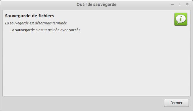 Mintbackup - sauvegarde de fichiers 7 - fin