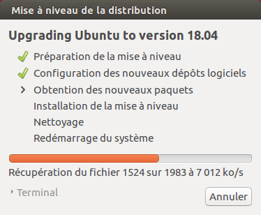 Ubuntu 16.04 vers Ubuntu 18.04 - 6 - mise à niveau