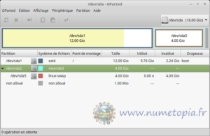GParted avec partition swap