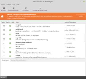 Linux Mint 19 - Gestionnaire de mises à jour