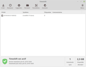 Linux Mint 19 - Timeshift