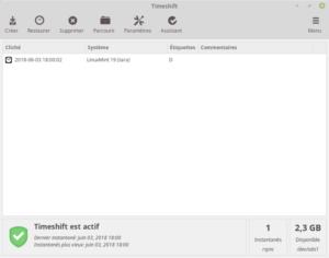 Linux Mint 19 - Timeshift