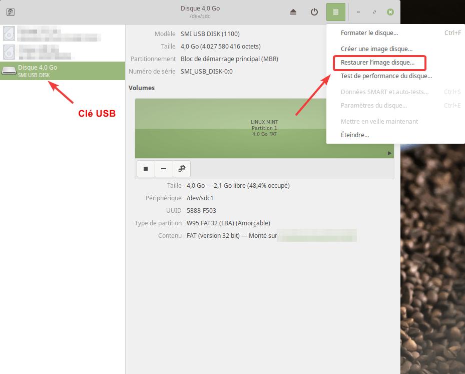 Création d'une clé USB bootable avec l'utilitaire Disques