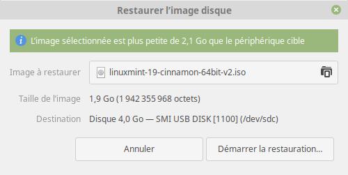 Création d'une clé USB bootable avec l'utilitaire Disques - Restauration de l'image
