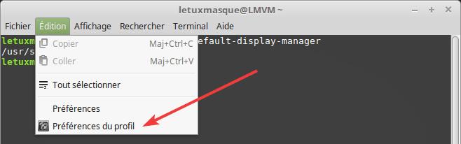 Fenêtre de terminal - accès préférences du profil