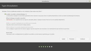 Type installation - avec un autre OS déjà présent