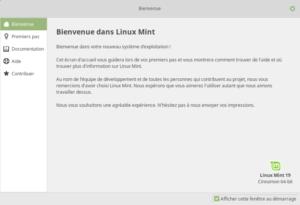 Linux Mint 19 - Écran d'accueil