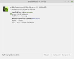 Linux Mint 19 - Gestionnaire de pilotes