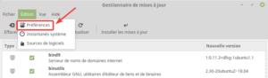 Linux Mint 19 - Gestionnaire des MAJ - accès préférences