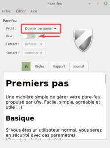 Linux Mint - pare-feu - profil dossier_personnel