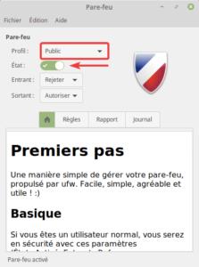 Linux Mint - pare-feu - profil Public