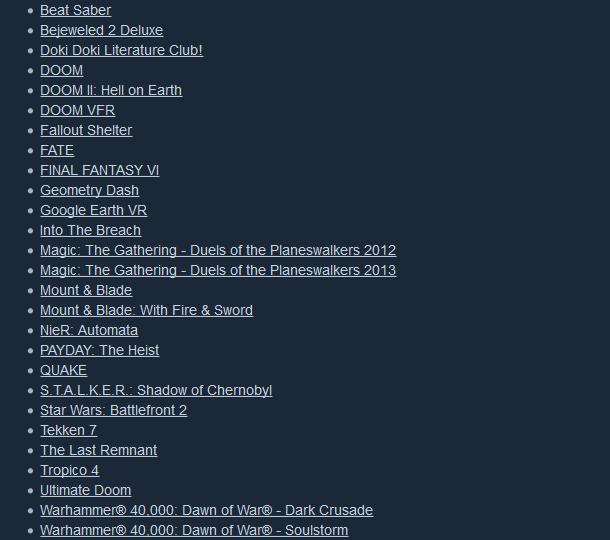 Liste jeux déjà valides sous Steam Play