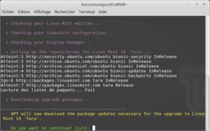 Début de la mise à jour vers Linux Mint 19