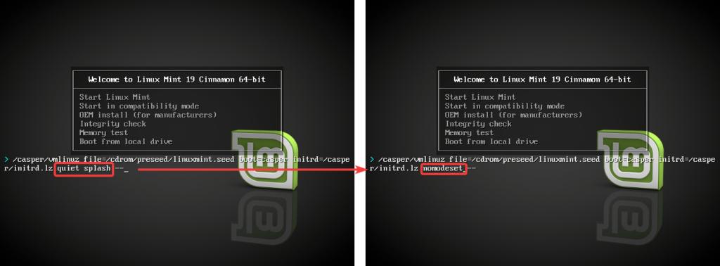 Modification démarrage USB bootable Linux Mint 19 pour régler les problèmes de freeze