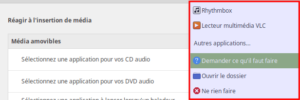 Exemple d'applications à lancer lors de l'insertion du CD audio