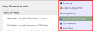 Exemple d'applications à lancer lors de l'insertion du CD audio