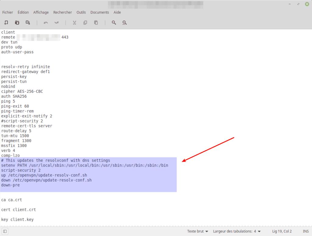Exemple de fichier de configuration ovpn modifié