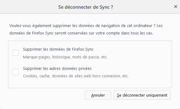 Firefox 62 - déconnexion sync