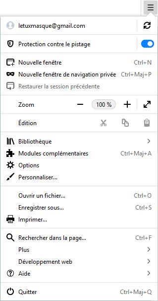 Firefox 62 - menu