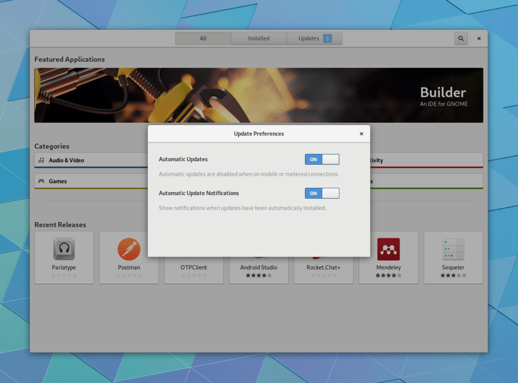 gnome 3.30 Software Updates