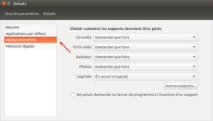 Ubuntu 16.04 Médias amovibles