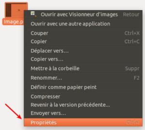 Accès propriétés d'un fichier sur Ubuntu 18.04