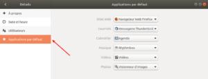Ubuntu 18.04 - Accès applications par défaut