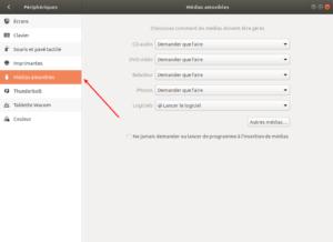 Ubuntu 18.04 Médias amovibles