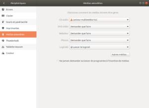 Exemple lancement VLC à l'insertion d'un CD audio