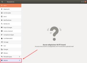 Accès Détails dans Paramètres sur Ubuntu 18.04