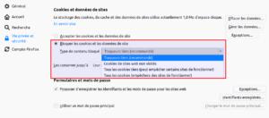 Cookies et données de sites Firefox 63