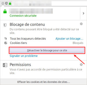 Désactiver blocage site Firefox 63