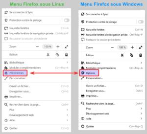 Différences entre Linux et Windows du Menu de Firefox