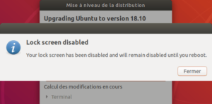 Mise à niveau vers Ubuntu 18.10 - Désactivation lock screen