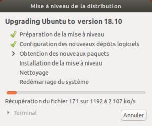 Mise à niveau vers Ubuntu 18.10 - mise à niveau du système