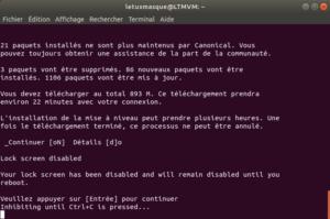 Mise à niveau vers ubuntu 18.10 en ligne de commande - 3 - validation disable lock screen