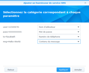 Synology - Ajout fournisseur service SMS 2