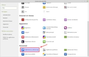 Applications au démarrage dans le centre de contrôle de Linux Mint MATE