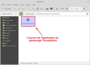 Dossier autostart avec lanceur thunderbird