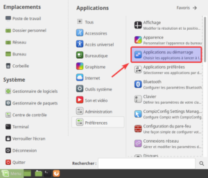 Applications au démarrage dans menu de Linux Mint MATE