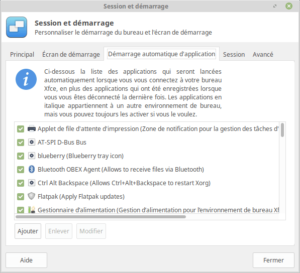 Démarrage automatique d'application dans Linux Mint XFCE