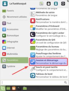Session et démarrage dans le menu de Linux Mint XFCE