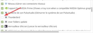Application au démarrage de Linux Mint XFCE désactivée