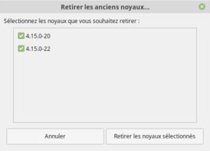 Options pour retirer plusieurs noyaux dans Linux Mint 19.1