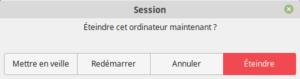 Fenêtre éteindre Linux Mint 19.1