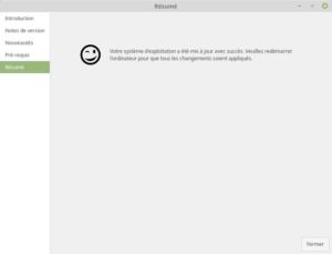 Résumé - Fin mise à jour vers Linux Mint 19.1